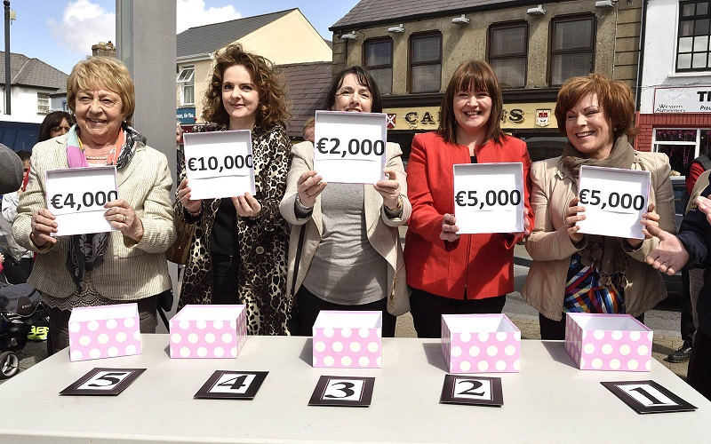 Pictured in Market Square at the First Choice Credit Union Canon 50th year celebrations, winners in the members draw, l-r; Sheila Coughlan (Castlebar, ) Joanne O'Reilly (Ballyvary), Kathleen Browne (Lahardane), Mary Brogan (Ballyvary) and Margaret Tuffy, (Ballyheane),. Photo © Ken Wright Photography 2016.